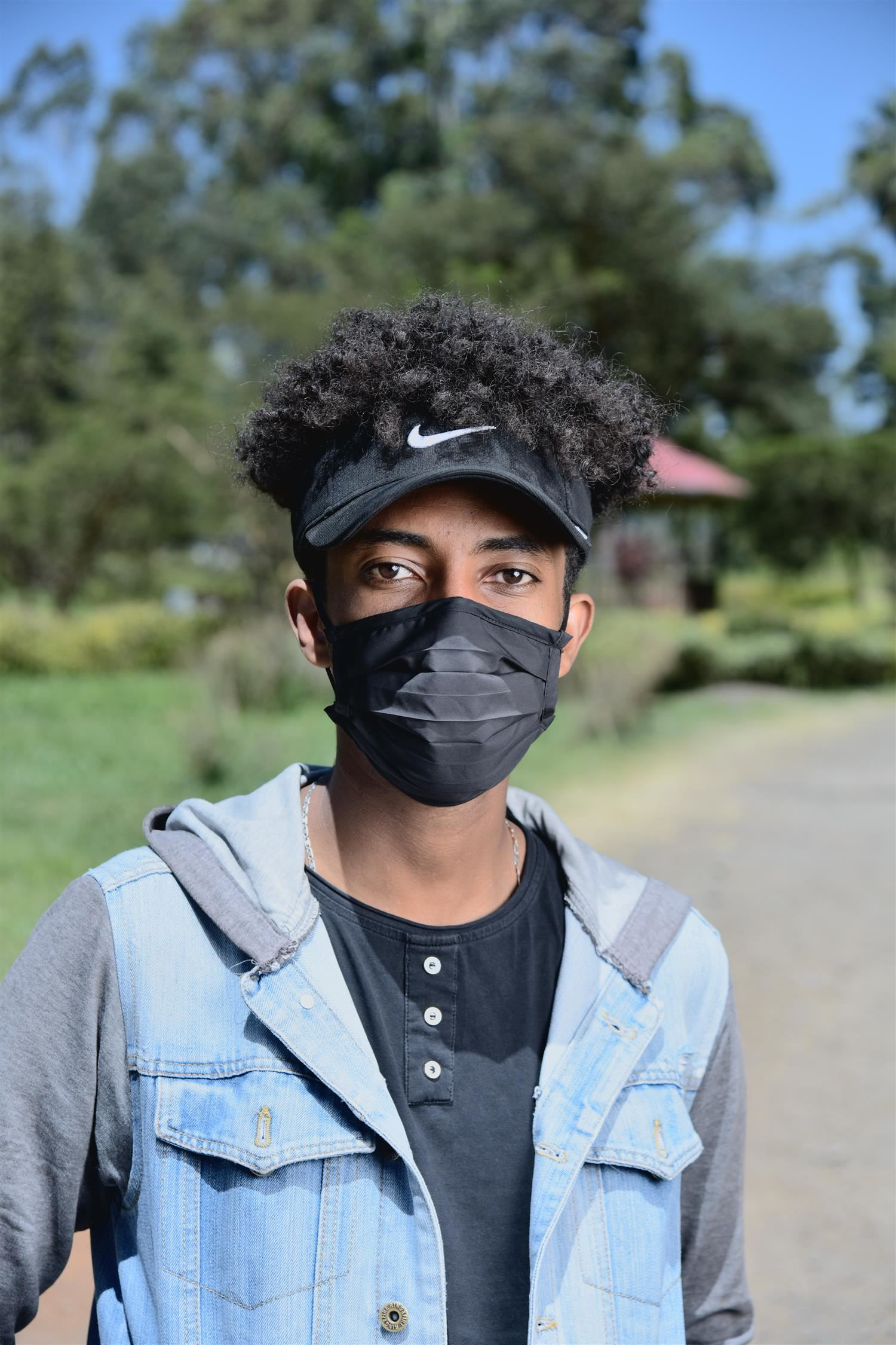 Young man wearing facemask